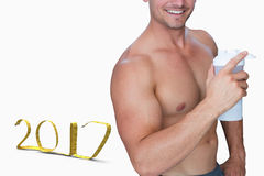 3D Composite image of bodybuilder holding flask royalty free stock photos