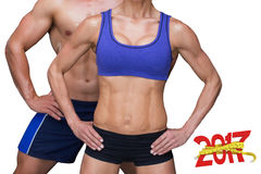 3D Composite image of bodybuilding couple Stock Images