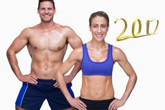 3d Composite image of bodybuilding couple stock photography