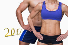 3D Composite image of bodybuilding couple royalty free stock images