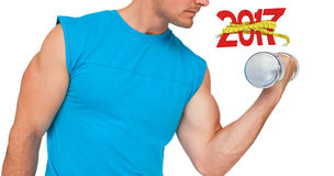 3D Composite image of close-up mid section of fit man exercising with dumbbell royalty free stock photography