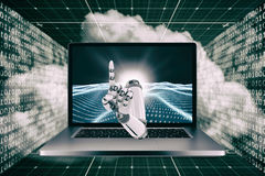 3D Composite image of composite image of robot hand. 3D Composite image of robot hand against digitally generated binary code landscape Stock Photo