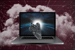 3D Composite image of composite image of robotic arm pointing Stock Photo