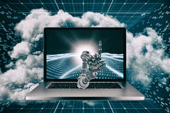 3D Composite image of composite image of robotic hand. 3D Composite image of robotic hand against digitally generated binary code landscape Stock Photography