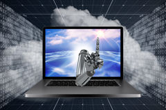 3D Composite image of composite image of robotic hand pointing. 3D Composite image of robotic hand pointing against digitally generated binary code landscape Royalty Free Stock Image