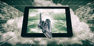 3D Composite image of composite image of robotic hand pointing. 3D Composite image of robotic hand pointing against digitally generated binary code landscape Royalty Free Stock Photo