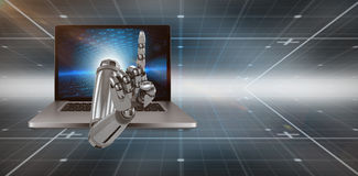 3D Composite image of composite image of robotic hand pointing. 3D Composite image of robotic hand pointing against hexagon pattern on technical background with Stock Photo