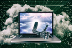 3D Composite image of cyborg hand with thumbs up Stock Photography