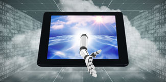3D Composite image of digital composite image of robotic arm Royalty Free Stock Photo