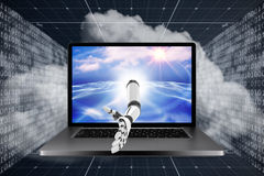 3D Composite image of digital composite image of robotic arm Stock Photo