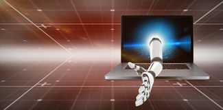 3D Composite image of digital composite image of robotic arm. 3D Digital composite image of robotic arm against hexagon pattern on technical background Royalty Free Stock Image