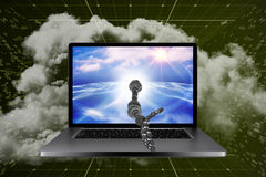 3D Composite image of digital composite image of robotic hand Stock Photo