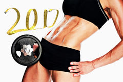 3D Composite image of female bodybuilder holding large black dumbbell mid section stock image
