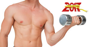 3D Composite image of fit shirtless man lifting dumbbell Stock Image