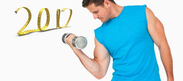 3D Composite image of fit young man exercising with dumbbell stock images