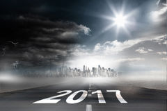 3D  Composite image of happy new year 2017. Happy New Year 2017 against 3D  open road Royalty Free Stock Photography