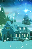 3D Composite image of illuminated turquoise house covered in snow. 3D Illuminated turquoise house covered in snow against snowy landscape with fir trees Stock Photography