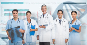 3D Composite image of portrait of confident medical team. Portrait of confident medical team against 3D genes diagram on white background stock photography