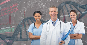 3D Composite image of portrait of male doctor with female staffs Stock Image