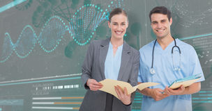 3D Composite image of portrait of male and female doctors discussing over reports stock photography