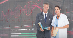 3D Composite image of portrait of male and female doctors with medical reports Stock Photography