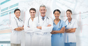 3D Composite image of portrait of smiling medical team standing arms crossed stock images