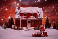 3D Composite image of red house with trees. 3D Red house with trees  against composite image of fir trees in snowy landscape Stock Photography