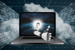3D Composite image of robotic arm showing thumbs up Royalty Free Stock Photos
