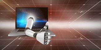 3D Composite image of robotic arm showing thumbs up. 3D Robotic arm showing thumbs up against hexagon pattern on technical background with binary code Royalty Free Stock Images