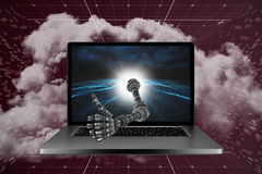 3D Composite image of robotic hand showing thumbs up. 3D Robotic hand showing thumbs up against digitally generated binary code landscape Royalty Free Stock Photos