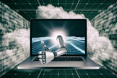 3D Composite image of robotic hand showing thumbs up. 3D Robotic hand showing thumbs up against digitally generated binary code landscape Stock Photos