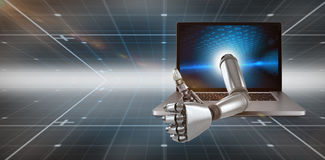 3D Composite image of robotic hand showing thumbs up. 3D Robotic hand showing thumbs up against technical background with binary code Royalty Free Stock Image