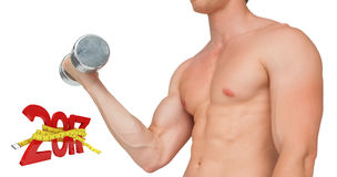 3D Composite image of strong man lifting dumbbell with no shirt on Stock Photos