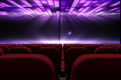3d composition of cinema seats facing to screen with abstract background. Digital composite of 3d composition of cinema seats facing to screen with abstract vector illustration