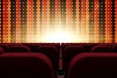 3d composition of cinema seats facing to screen with abstract background Stock Images