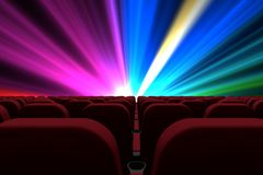 3d composition of cinema seats facing to screen with colorfull lights Royalty Free Stock Photos