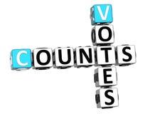 3D compte des mots croisé de votes Images stock