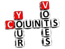 3D compte vos mots croisé de votes Images libres de droits