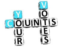 3D compte vos mots croisé de votes Photo libre de droits