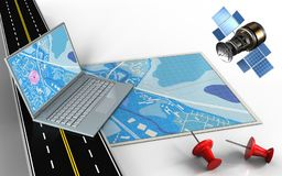 3d computer. 3d illustration of blue map with computer and red pins royalty free illustration