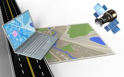 3d computer. 3d illustration of map with computer and vector illustration