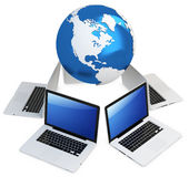 3d computer global mobile network with earth globe. On white background vector illustration