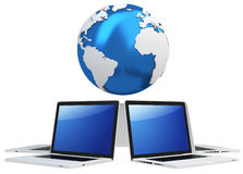3d computer global mobile network with earth globe. On white background Stock Photo