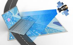 3d computer. 3d illustration of blue map with computer and stock illustration