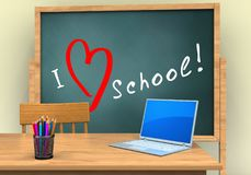 3d computer. 3d illustration of board with love school text and computer stock illustration