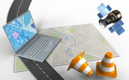 3d computer. 3d illustration of bright map with computer and repair cones stock illustration