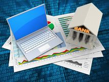 3d computer. 3d illustration of business documents and computer over digital background with bank royalty free illustration