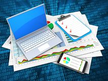 3d computer. 3d illustration of business documents and computer over digital background with clipboard stock illustration