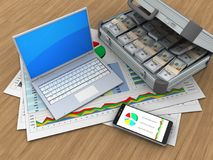 3d computer. 3d illustration of business documents and computer over wood background with case royalty free illustration