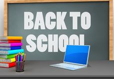 3d computer. 3d illustration of chalkboard with back to school text and computer vector illustration